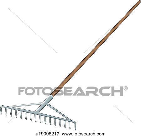 Clip art of rake u19098217 search clipart illustration for Gardening tools kalaykay