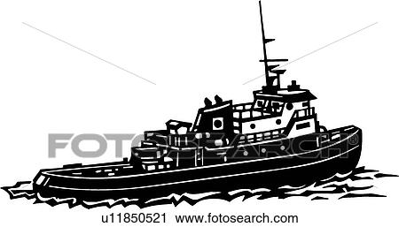 clipart of tugboat u11850521 search clip art illustration murals rh fotosearch com Tugboat SVG Small Tugboat
