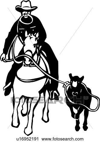 Clipart Of Calf Roping U16952191