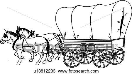 clipart of covered wagon u13812233 search clip art illustration rh fotosearch com conestoga wagon clipart pioneer covered wagon clipart