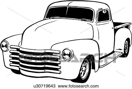 Line Art Clipart : Clipart of illustration lineart classic chevy pickup
