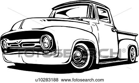 Clip Art of illustration, lineart, classic, 1956, ford, pickup ...