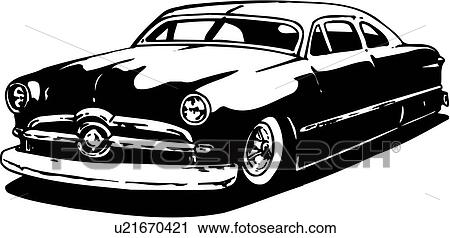 Clipart of illustration, lineart, classic, car, auto, automobile ...