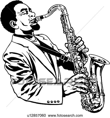 Clipart Of Illustration Lineart Sax Saxophone Player