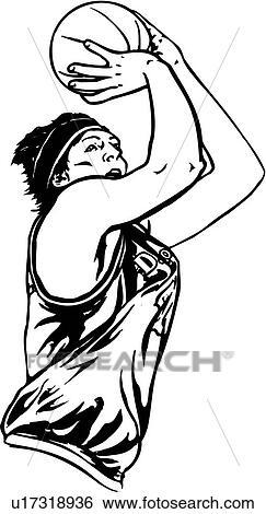 Clip Art of illustration, lineart, basketball, player, athlete ...