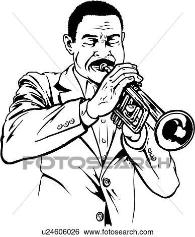 Clip Art of illustration, lineart, trumpet, player, trumpeter ...