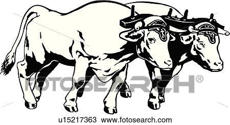 clipart of illustration lineart animal oxen ox team yoke rh fotosearch com oxen pulling wagon clipart oxen clipart free