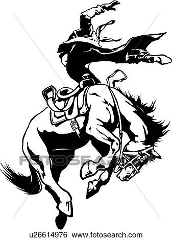 Clip Art Of Illustration Lineart Horse Bronco Broncho