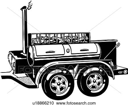Line Art Clipart : Clipart of illustration lineart mobile barbecue cookout