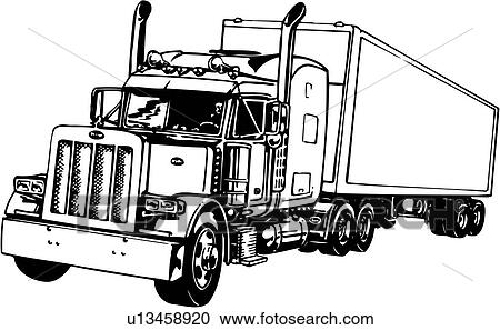 Clipart of illustration, lineart, tractor, trailer, truck ...