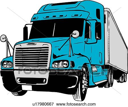 Clip Art of illustration, lineart, tractor, trailer, flatbed ...