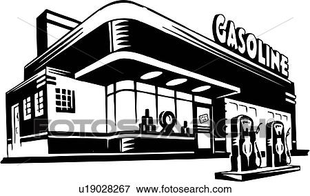 Old Gas Station Drawing Clip Art of ill...