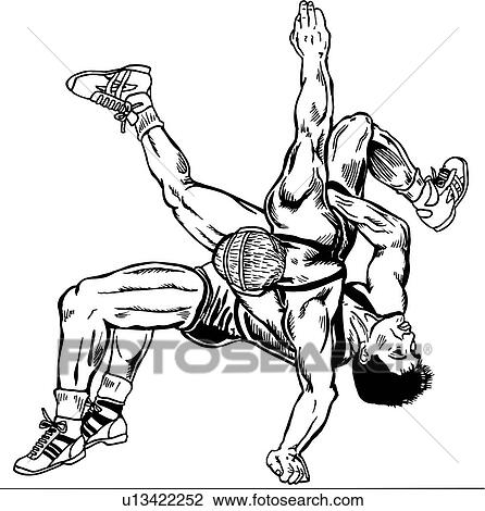 Clipart of wrestle, wrestler, wrestlers, wrestling, sport, sports ...