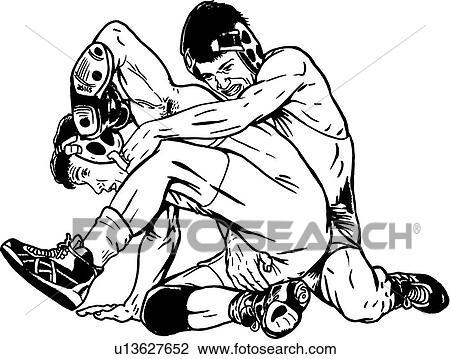 Clipart of wrestle, wrestler, wrestlers, wrestling, sport, sports ...