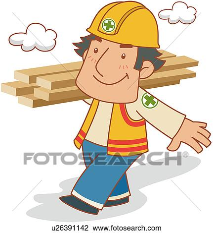 Clipart Of Construction Worker Carrying Lumber U26391142