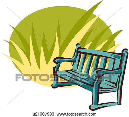 clipart of park bench u21907983 search clip art illustration rh fotosearch com park bench clipart free Weiss Park Newark DE