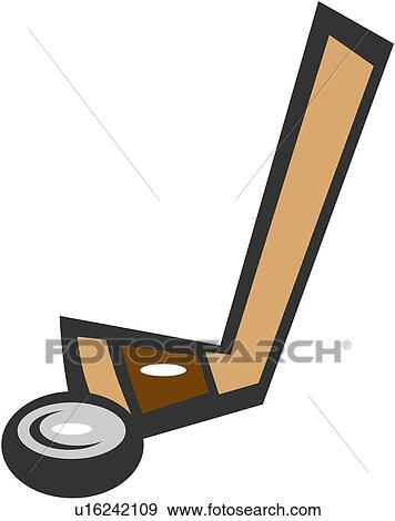 Clip Art of hockey stick, icehockey, ball game, sport supply, ice ...