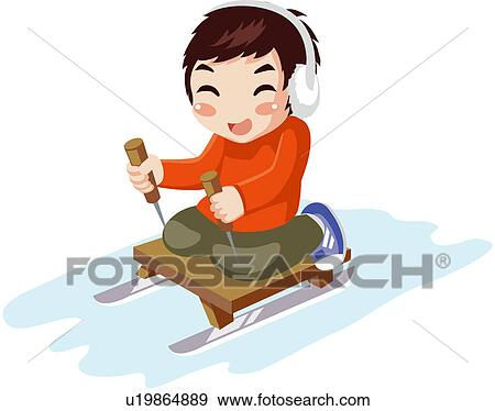 Clip Art of leisure activity, sledge, chilly, well being ...