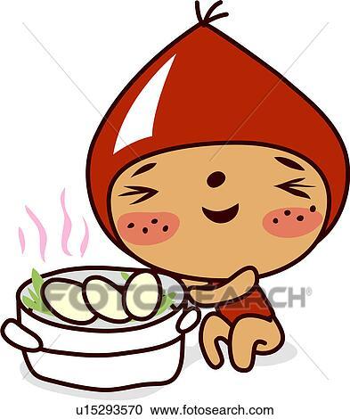Rice Cake Clip Art : Clipart of winked, steamer, korean rice cake, songpyun ...