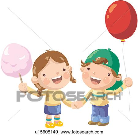 Clip Art of smiling, cotton candy, holding, balloon, holding hands ...
