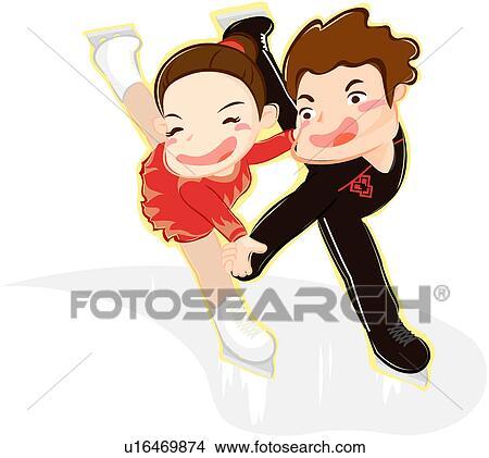 剪贴画 运动 , 执行, 跳舞, 冬季, 奥林匹克 运动会