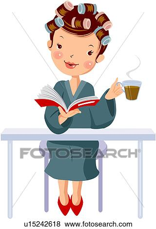 Clip Art Of Womankind Book Beauty Salon Women U15242618