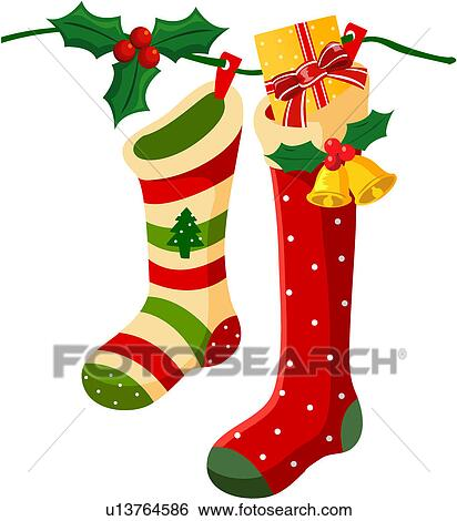 Clip art christmas stockings fotosearch search clipart