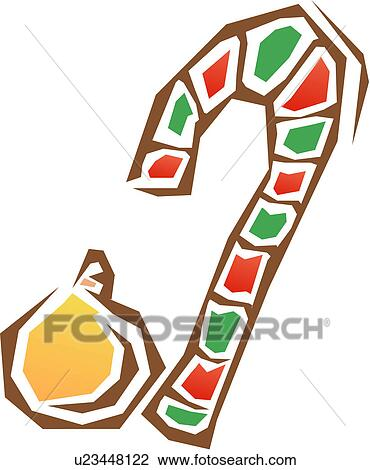 Clipart candy cane and ornament fotosearch search clip art