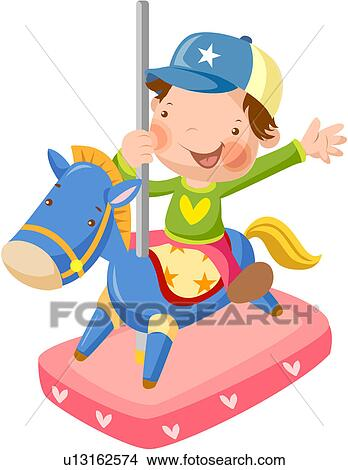 Clipart Of Cap Elementary School Student Carousel Ride Merry Go