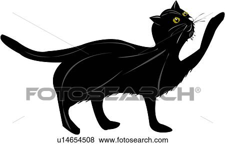 Clip Art of animal, feline, silhouette, kitty, domestic, black and ...