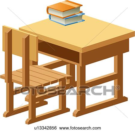 Clip Art Of Object Table School Wooden Book Chair U13342856