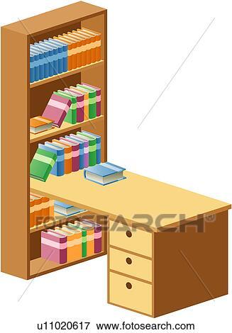 Bücherregal clipart  Clip Art - gegenstand, tisch, hölzern, bücherregal, schublade ...