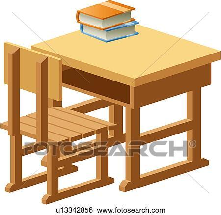 Tisch schule clipart  Clip Art - gegenstand, tisch, schule, hölzern, buch, stuhl ...