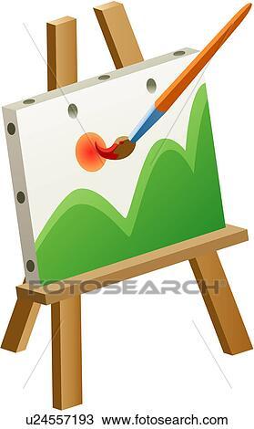 Gemälde clipart  Clipart - farbpinsel, bürste, gemälde, segeltuch, staffelei ...