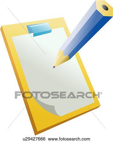 Clip Art of stationery, pencil, clip board, paper, document, icon ...