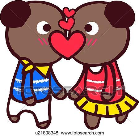 Clipart baiser ours couple femme m le amour - Clipart amour ...