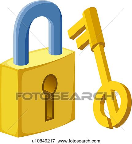 Clip Art of Lock and key u10849217 - Search Clipart ...