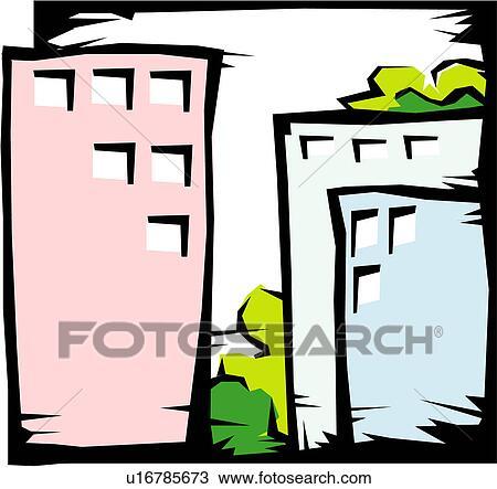 clipart of modern architecture structure office building business rh fotosearch com Skyscraper Clip Art Black and White city skyscraper clipart