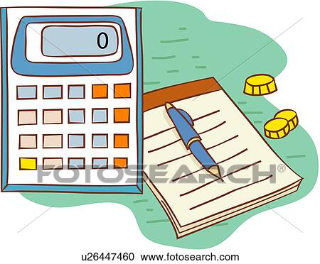 Büromaterial clipart  Clipart - taschenrechner, notizbuch, büromaschine, büromaterial ...