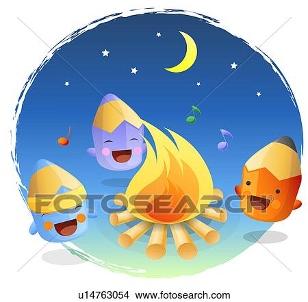 Clipart of Camping, stationery, smiling, colored pencil ...