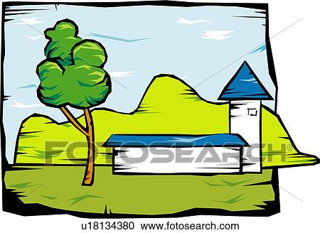 clipart of scenery landscape sky building view scene house rh fotosearch com scenery clip art free scenery clipart black and white