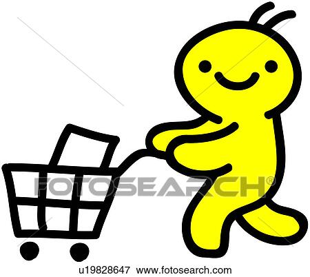clip art of shopping cart person people grocery cart u19828647 rh fotosearch com Shopping Cart Clip Art grocery cart clipart black and white