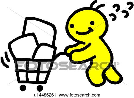 Clipart of shopping cart, person, people, grocery, cart u14486261 ...