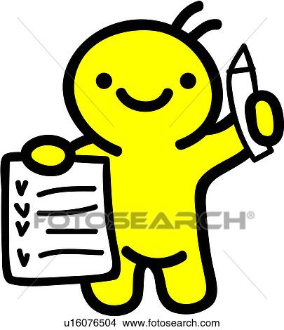 Clipart of pencil, delivery service, holding, checklist, checking ...