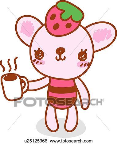 Clip Art of coffee, cat, mug, holding, character, mug cup ...