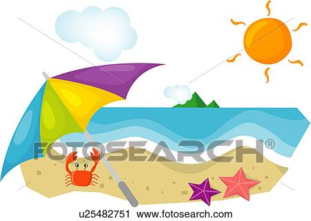 clipart of umbrella leisure beach parasol seashore recreation rh fotosearch com Seashore Drawing seashore background clipart