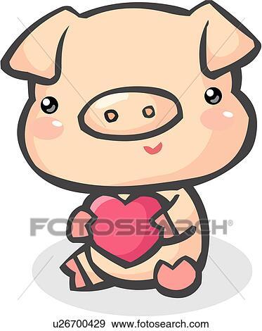 Clip Art Of Swine Livestock Heart Farm Animal Agriculture Hog