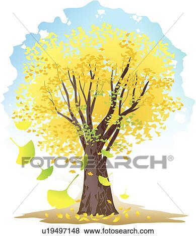 银杏树叶粘贴画-剪贴 画 银杏树 , 树, 树, 树, 植物, 银杏树 , 植物