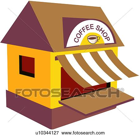 Clip Art of coffee house, coffee shop, cafe, store, shop ...