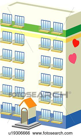 Clip Art Of Building Build Architecture Structure Apartment
